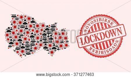 Vector Collage Novosibirsk Region Map Of Flu Virus, Masked People And Red Grunge Lockdown Seal Stamp