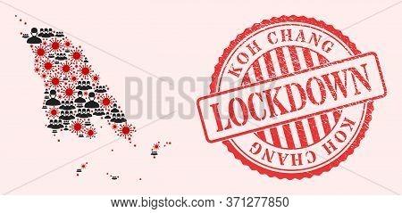 Vector Collage Koh Chang Map Of Covid-2019 Virus, Masked Men And Red Grunge Lockdown Seal. Virus Par