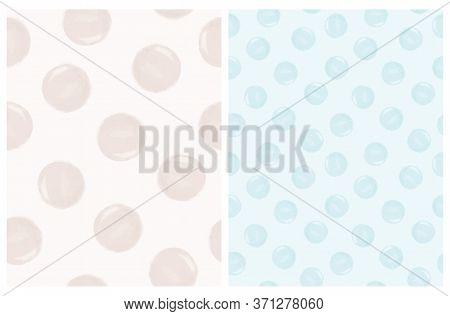 Cute Irregular Polka Dots Seamless Vector Patterns. Hand Drawn Abstract Gray And Blue Brush Dots On