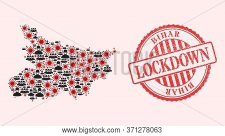 Vector Collage Bihar State Map Of Coronavirus, Masked People And Red Grunge Lockdown Seal Stamp. Vir