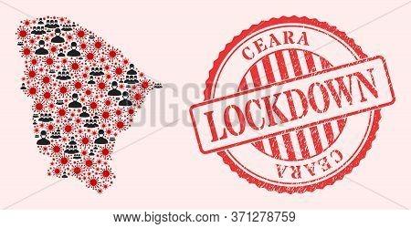Vector Mosaic Ceara State Map Of Flu Virus, Masked People And Red Grunge Lockdown Seal. Virus Cells