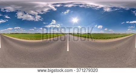 Full Spherical Seamless Panorama 360 Degrees Angle View On No Traffic Asphalt Road Among Fields With