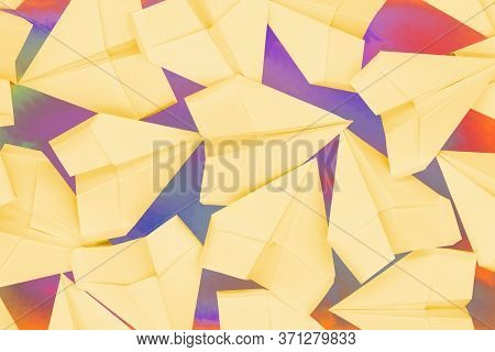 Colorful Background With Yellow Paper Airplanes. Origami Concept Isolated Texture.colorful Backgroun