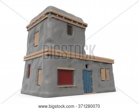 Adobe House Of Ancient Greece, Isolated On White. 3d Illustration