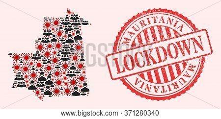 Vector Collage Mauritania Map Of Sars Virus, Masked Men And Red Grunge Lockdown Seal Stamp. Virus Ce