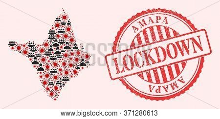 Vector Collage Amapa State Map Of Sars Virus, Masked Men And Red Grunge Lockdown Seal. Virus Items A