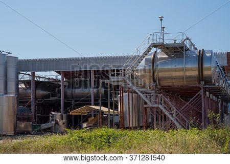 Winemaking Tanks. Modern Technological Industrial Equipment. Wine Factory.
