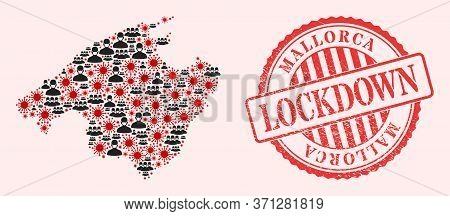 Vector Mosaic Mallorca Map Of Covid-2019 Virus, Masked Men And Red Grunge Lockdown Seal. Virus Cells