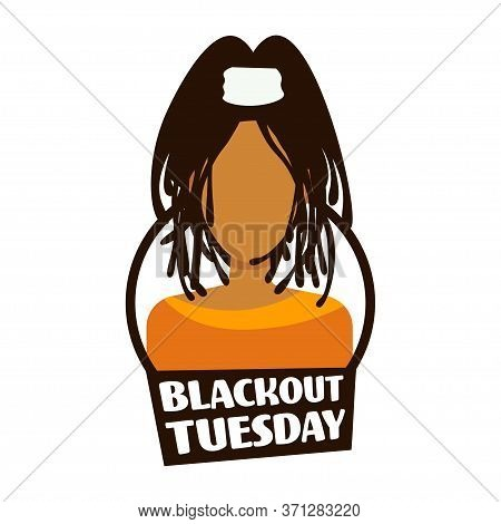 African American Woman Against Racial Discrimination Black Lives Matter Blackout Tuesday Concept Soc
