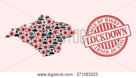 Vector Mosaic Isle Of Wight Map Of Flu Virus, Masked Men And Red Grunge Lockdown Seal Stamp. Virus E