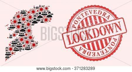 Vector Mosaic Pontevedra Province Map Of Corona Virus, Masked Men And Red Grunge Lockdown Stamp. Vir