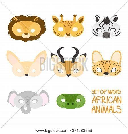 Illustration Set Of Cartoon Animal Africa Carnival Masks: Lion, Giraffe, Zebra, Fenech, Antelope, Se