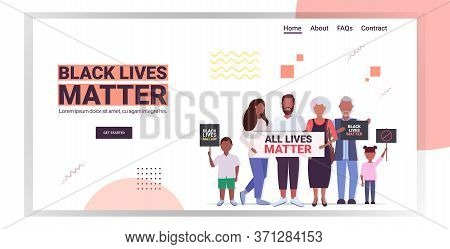 African American Multi Generation Family With Black Lives Matter Banners Awareness Campaign Against