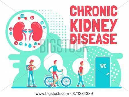 Chronic Kidney Disease Poster Flat Vector Template. Abdominal Body Pain From Illness. Brochure, Book