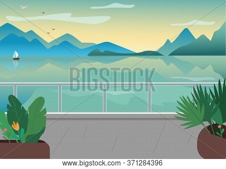 Seaside Resort Street Flat Color Vector Illustration. Waterfront Terrace. Lake And Mountains Skyline
