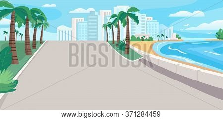 Luxury Seaside Resort Boulevard Flat Color Vector Illustration. Waterfront Street With Skyscrapers A