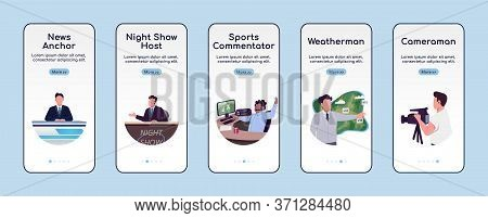 News Show Onboarding Mobile App Screen Flat Vector Template. Tv Broadcasting Programs Walkthrough We