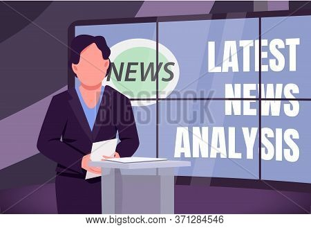 Latest News Analysis Banner Flat Vector Template. Analytical Tv Program Brochure, Poster Concept Des