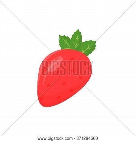 Strawberry Cartoon Vector Illustration. Ripe Juicy Sweet Fruit Food Flat Color Object. Good Vegetari