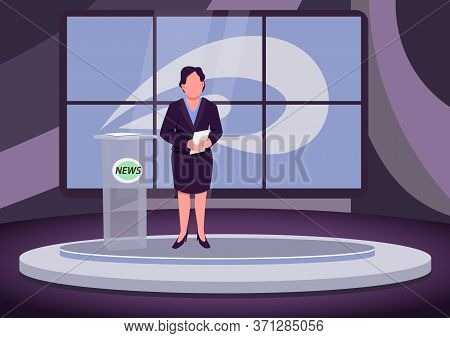 News Analysis Flat Color Vector Illustration. Female Newscaster, Expert, Professional Anchorwoman 2d