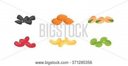 Seeds, Nuts, Beans Cartoon Vector Illustrations Set. Sunflower And Pumpkin Seeds. Almonds, Pistachio