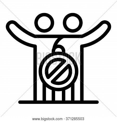 No Hugs Icon. Outline No Hugs Vector Icon For Web Design Isolated On White Background