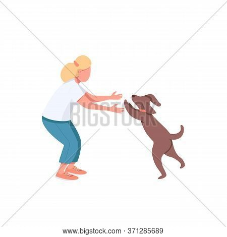 Woman Play With Dog Flat Color Vector Faceless Characters. Female Adult Exercise With Doggy. Domesti