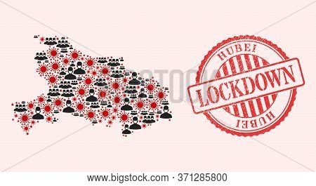 Vector Mosaic Hubei Province Map Of Covid-2019 Virus, Masked People And Red Grunge Lockdown Seal Sta