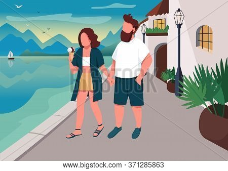 Couple Walking On Seafront Flat Color Vector Illustration. Romantic Evening Promenade. Boyfriend And