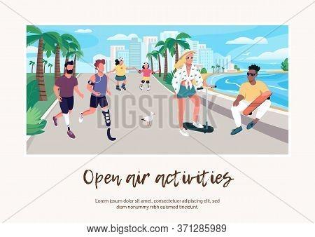 Open Air Activities Banner Flat Vector Template. Brochure, Poster Concept Design With Cartoon Charac