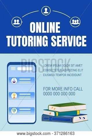 Online Tutoring Poster Flat Vector Template. Elearning Service. Internet Courses. Homework Help. Bro