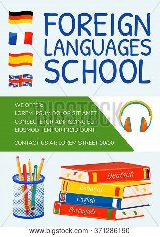 Foreign Languages School Poster Flat Vector Template. Linguistics Learning. Internet Courses. Brochu