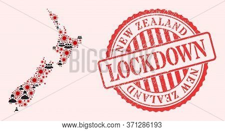 Vector Mosaic New Zealand Map Of Covid-2019 Virus, Masked Men And Red Grunge Lockdown Seal. Virus It