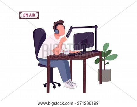 Online Podcast Host Flat Color Vector Faceless Character. Caucasian Guy With Headphones And Micropho