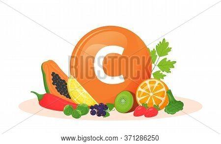 Vitamin C Food Sources Cartoon Vector Illustration. Antioxidant In Fresh Fruits, Vegetables. Greens