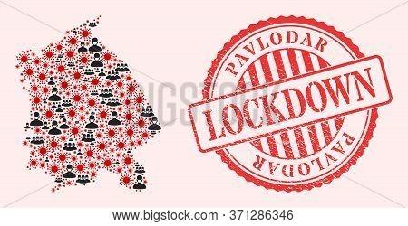 Vector Collage Pavlodar Region Map Of Corona Virus, Masked Men And Red Grunge Lockdown Seal. Virus P