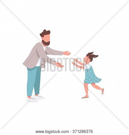 Father With Daughter Flat Color Vector Faceless Characters. Little Girl Run To Hug Daddy. Parenthood