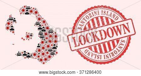 Vector Mosaic Santorini Island Map Of Sars Virus, Masked Men And Red Grunge Lockdown Seal. Virus Par
