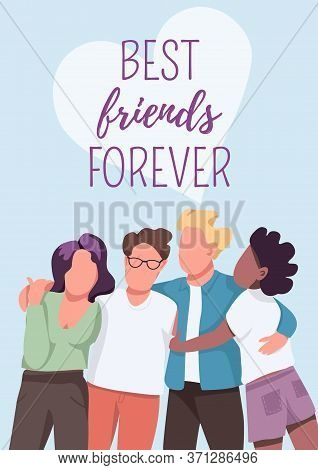 Best Friends Forever Poster Flat Vector Template. Friendship And Unity. Group Dynamic. Brochure, Boo