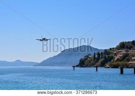 Corfu, Greece - April 8, 2018: Modern Passenger Airplane Of Ryanair Airlines Before Landing At Corfu