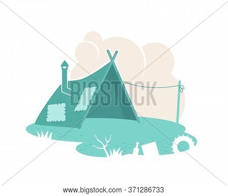 Refugee Camp Tent 2d Vector Web Banner, Poster. Dwelling In Slum. Poor People Settlement Flat Illust