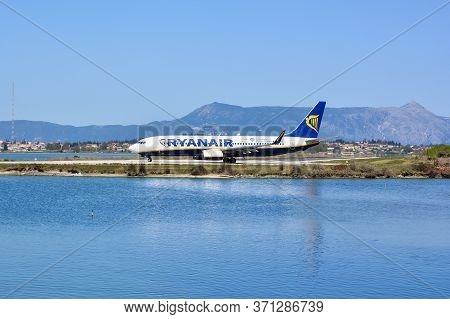 Corfu, Greece - April 8, 2018: Modern Passenger Airplane Of Ryanair Airlines At Corfu Island Airport
