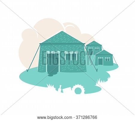 Military Tents 2d Vector Web Banner, Poster. Army Settlement. Barracks Flat Illustration On Cartoon