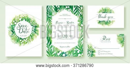 Green Wedding Invitation, Save The Date, Thank You, Rsvp Card Design Template. Watercolour Style.