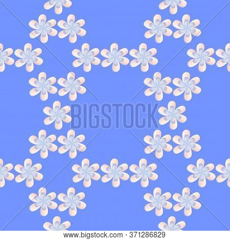 Seamless Floral Pattern, Summer Geometric Ornament Of Multicolored Flowers In Pastel Colors On A Blu