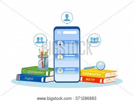 Online Tutoring Flat Concept Vector Illustration. Distance Education. High School Subjects Learning