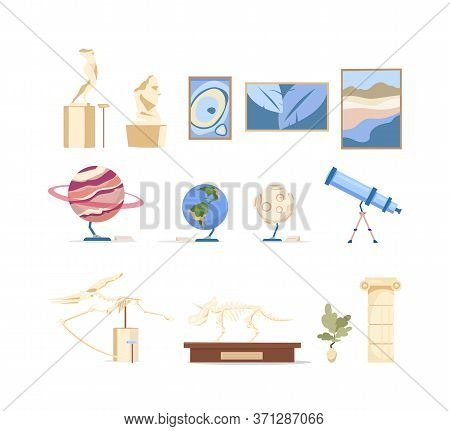 Museum Exhibits Flat Color Vector Objects Set. Dinosaur Skeleton Showcase. Picture For Art Gallery.