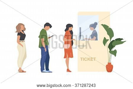 People Buy Ticket Flat Color Vector Faceless Characters. Queue To Admission Booth. Person Wait In Cr