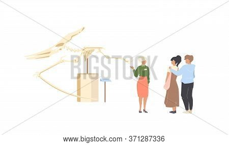 Paleontology Museum Tourist Flat Color Vector Faceless Characters. People Look At Dinosaur Skeleton.