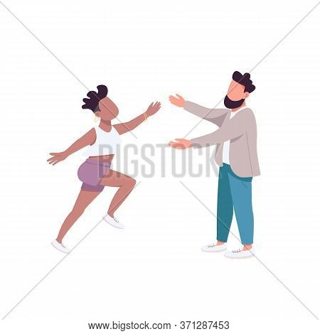 Woman Run To Hug Man Flat Color Vector Faceless Characters. Female Want To Embrace Male Friend. Happ